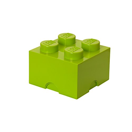 LEGO Aufbewahrungsstein, 4 Noppen, Stapelbare Aufbewahrungsbox, 5,7 l, lindgrün