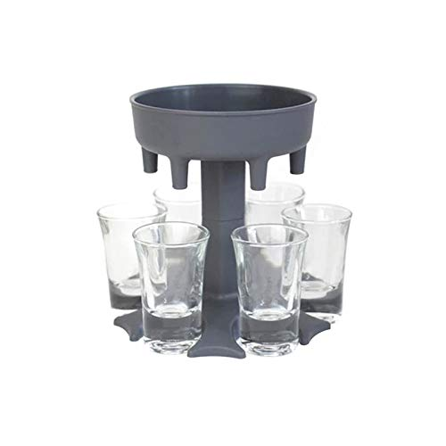 ECO-WILL 6 Shot Glass Dispenser and Holder with 6pcs 1.2 oz Acrylic Cup, Bar Game Wine Distributor,Family Party and BBQ Wine Dispenser,Cocktail, Drink Dispenser,Pour Wine Tools (GREY)