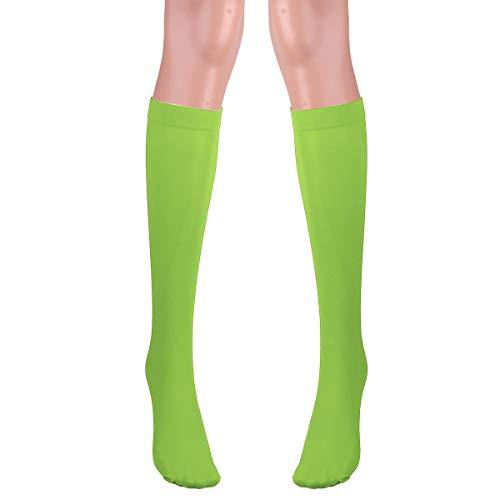 Agoky 1 Par Calcetines Hombres Ejecutivos Calcetines Deportivos Medias Bajas Calcetines de Tubo Medio Calcetines de Algodón Transpirables Uso Diario Unisex Verde Fluorescente One Size