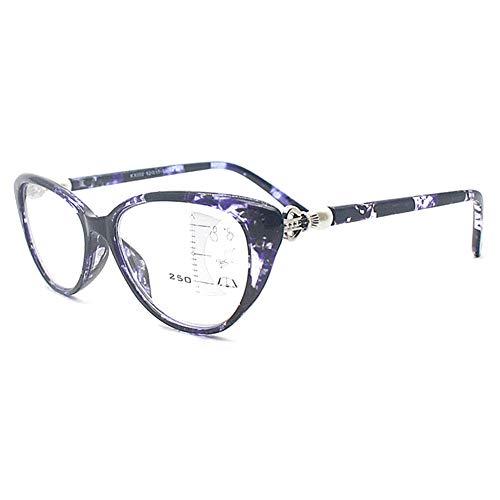 KOOSUFA Damen Gleitsichtbrille Progressive Multifokus Lesebrille Anti-Blaulicht Katzenaugen Hornbrille Sehhilfe Lesehilfe TR90 Anti Müdigkeit Brille 1,0 1,5 2,0 2,5 3,0 3,5 (Violett, 2.0)