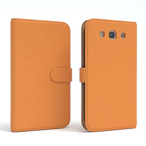 EAZY CASE Tasche kompatibel mit Samsung Galaxy S3 / S3 Neo Schutzhülle mit Standfunktion Klapphülle Bookstyle, Handytasche Handyhülle mit Magnetverschluss & Kartenfach, Kunstleder, Orange