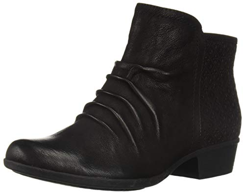 Rockport Women's Carly Rouched Bootie Ankle Boot, Black, 5.5 M US
