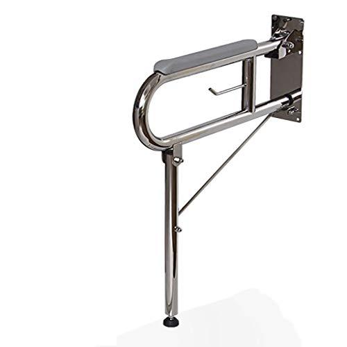 WZNING Edelstahl-faltendes Sicherheits-Dusche Handlauf for ältere Behinderte, Lippe Up WC Sicherheitsrahmenschiene Mit Surpport Beine, Swing Handicap Haltegriff Badezimmer Stützgriffe der Wand befesti