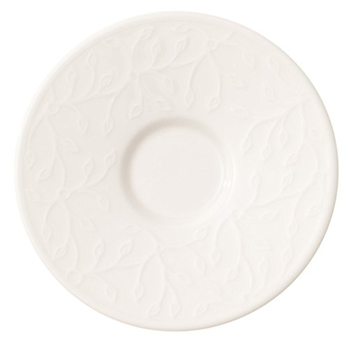 Villeroy & Boch Caffè Club Floral Touch Mokka-/Espresso-Untertasse, 12 cm, Premium Porzellan, Weiß