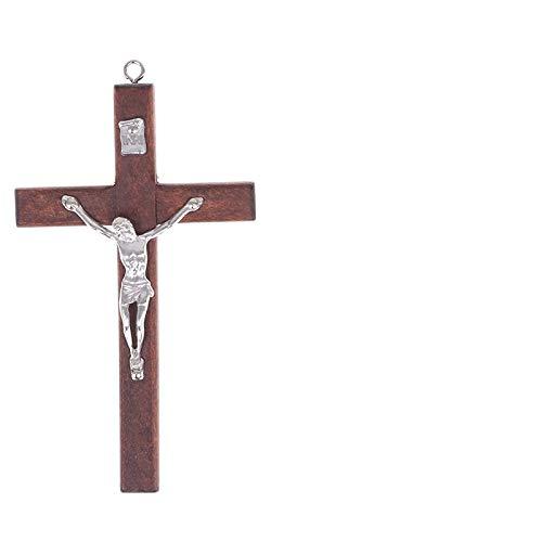 Crocifisso da parete legno piccolo da muro parete Cristo Placcato Argento