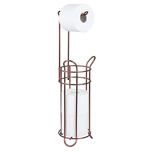 mDesign Toilettenpapierhalter ohne Bohren - Klorollenhalter fürs Badezimmer - Papierrollenhalter freistehend aus Metall - dunkelbraun