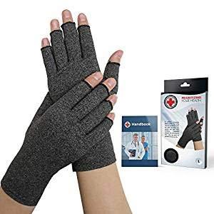 Von Ärzten Entwickelte Arthritis Kompressions-Handschuhe und von Ärzten verfasstes Handbuch (Grau)