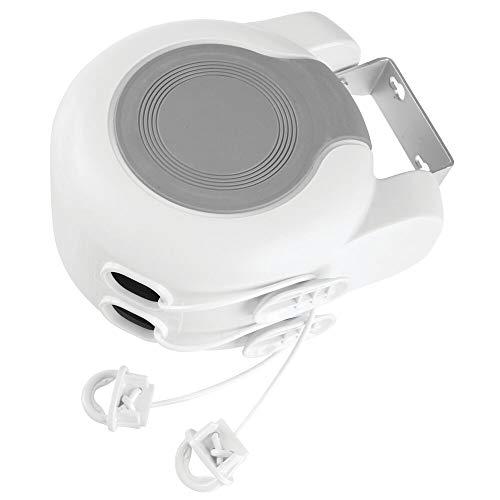 mDesign Tendedero extensible – Tendedero de pared con dos cuerdas para interior y exterior – Colgador de ropa extensible hasta 12,8 m cada cuerda para el baño, lavadero, jardín o viaje – blanco