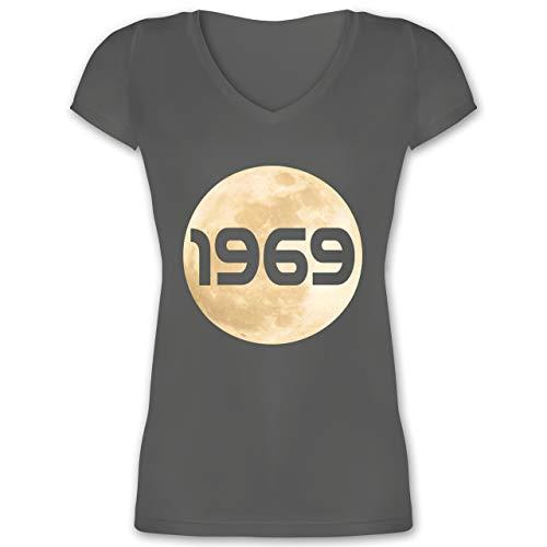 Nerds & Geeks - Mondlandung 1969 - L - Anthrazit - Statement - XO1525 - Damen T-Shirt mit V-Ausschnitt
