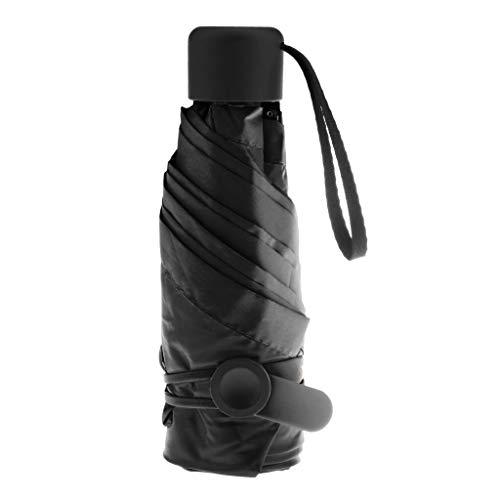 LOVIVER Mini Reise Sonne & regen Regenschirm-Licht Kompakte Sonnenschirm mit UV Schutz für Männer Frauen Mehrere Farben - Schwarz