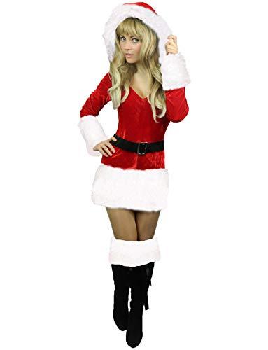 Yummy Bee - Mère Père Noël Saint Nicolas Santa Claus Déguisement Costume Femme Adulte Rouge Blanc + Chapeau Taille 34 - 50 (Blanc, 46/48)