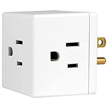 GE 3-Outlet Extender Wall Tap Cube Adapter Spaced Outlets Easy Access Design Grounded 3-Prong Perfect for Home or Travel UL Listed White 58368