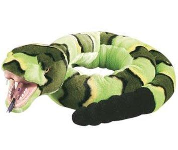 Lashuma Plüsch Klapperschlange Grün mit Kunststoffmaul, Snakesss Kuscheltier Schlange, Plüschtier Kuschelschlange 137 cm