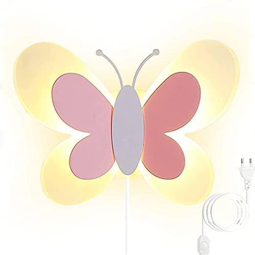 HMAKGG Moderne Wandleuchte mit Stecker Kinder Trikolore Dimmbar Kinderzimmer Wandlampe LED 16W Schmetterling Design Acryl Wandbeleuchtung für Schlafzimmer Wohnzimmer Korridor,Rosa