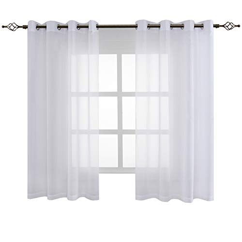 FLOWEROOM Transparent Voile Vorhang Gardinen - Einfarbige Durchsichtig Vorhänge Wohnzimmer Ösenvorhang 175x140 cm Weiß 2er Set