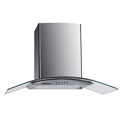 Sunflame 60 cm 1100 m³/hr Curved Glass Kitchen Chimney (BELLA 60 SS, 2 Baffle Filters, Silver)