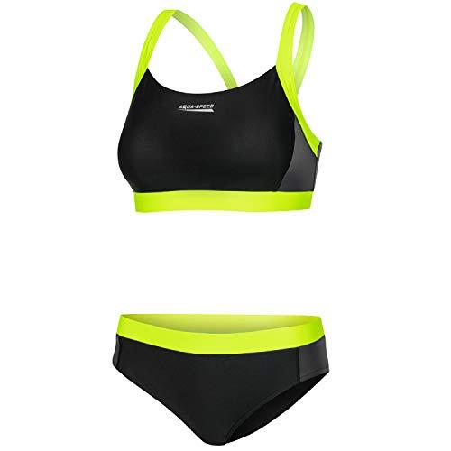 Aqua Speed Bikini Set für Damen | Two Piece Swimsuit | Swimwear | Zweiteilige Badebekleidung für Frauen | Schwimmbikini | Bikinis for Women | Zweiteiler | Schwarz-Hellgrün, Gr. 38 | Naomi