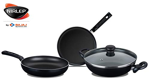 Nirlep by Bajaj Electricals Sakhi Induction-Base Non-Stick 3-Piece Cookware Set with Lid, Black