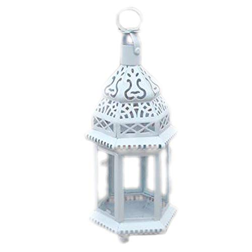 MYW Fashion Hollow Kasteel Classical Candle Holder Iron Glas Wind Lamp Home Decoration (Color : White)