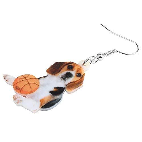 XUBB Acryl Beagles Hund Basketball Ohrringe Animal Drop Schmuck für Frauen Mädchen Teenager Kinder Party Charme Trendy Geschenk