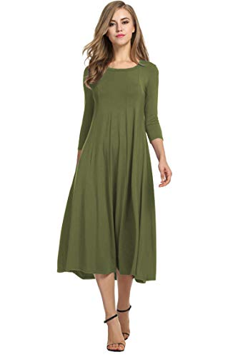 Hotouch Women's Scoop Neckline Trapeze Silhouette Loose Fit T Shirt Dress Tunic (Army Green, L)