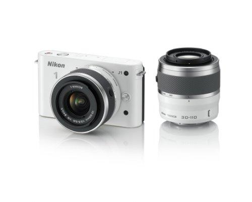 Nikon 1 J1 10.1 MP HD Digital Camera System with 10-30mm VR and 30-110mm VR 1 NIKKOR Lenses (White)