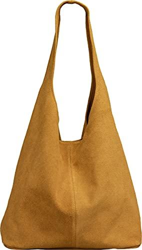 Caspar TL767 großer Damen Leder Shopper, Farbe:cognac, Größe:One Size
