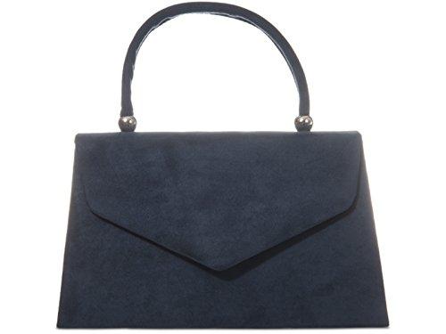 fi9® Handtasche im Retro-Stil, Wildleder, für Hochzeit, Party, Abschlussball, Abend, Marineblau