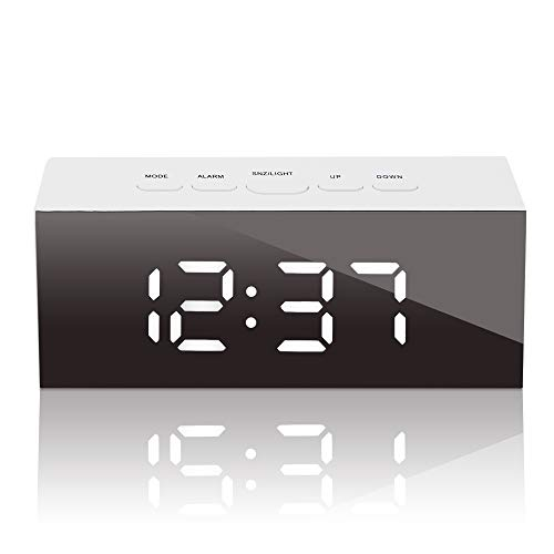GLOUE Led Digital Alarm Clock,Alarm Clocks Bedside Temperature Display- Snooze and Large Display- Adjustable Brightness - USB Port and Battery Back Up, Bedroom Mirror Travel Alarm (White Light)