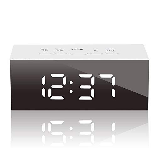 GLOUE Led Digital Alarm Clock - Alarm Clocks Bedside- Temperature Display- Snooze and Large Display- Adjustable Brightness - USB Port and Battery Back Up, Bedroom Mirror Travel Alarm (White Light)