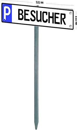 MBH-Shop Parkplatzschild individuell mit GAH-Alberts 690670 Nummernschild-Befestigung - zum Einbetonieren, feuerverzinkt, 750 cm