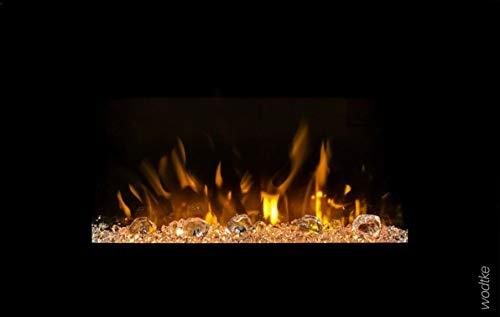 Elektrokamin wodtke feel the flame® iVision black - wandhängend (LED-Hintergrundbeleuchtung, Knistermodul, Kiesel und Kristalle, 20 W Stromverbrauch, max. 1,7 KW Heizleistung, Fernbedienung inkl.)