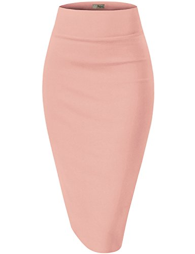 Womens Premium Stretch Office Pencil Skirt KSK45002 1073T Blush XL
