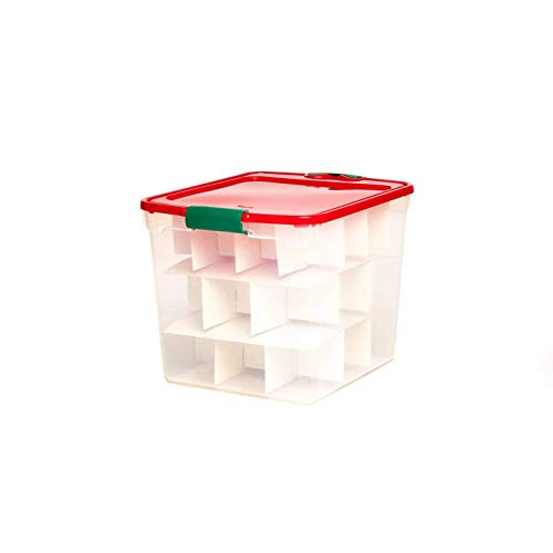 HOMZ Holiday Plastic Storage Container, 31 Quart - 16.25' x 13' x 12.125', Clear/Red/Green, 4 Sets