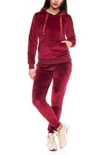 Crazy Age Damen Anzug Freizeit Sport Alltag | Samt Nicki Velvet | Kuschelig Sportlich Elegant | XS - XL (Weinrot, M)