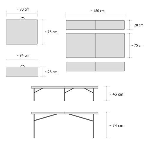 Vanage Gartenmöbel-Sets Bierbankgarnitur Fred Kunststoff, zusammenklappbar, weiß - 6
