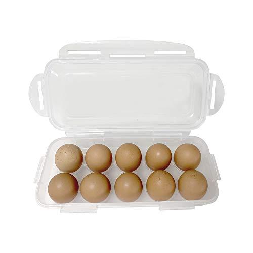 Crescent Interiors、冷蔵庫用エッグホルダー(10個)、BPAフリー卵ケース、冷蔵庫のスペース確保、蓋の取外し可能、蓋がロックして閉まる、積み重ね可能、アウトドアにも最適