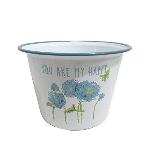 Blumentopf mit Blumendruck, Emaille, Shabby-Chic-Stil, mit Zitat You Are My Happy, Blau