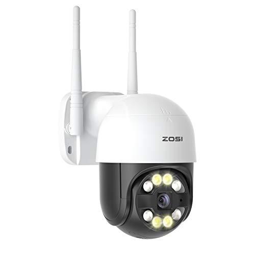 ZOSI 1080P Cámara de Vigilancia WiFi Exterior IP Giratoria PTZ, Detección de Humano AI, Visión Nocturna Color, Audio, Alarma de Sonido y Luz