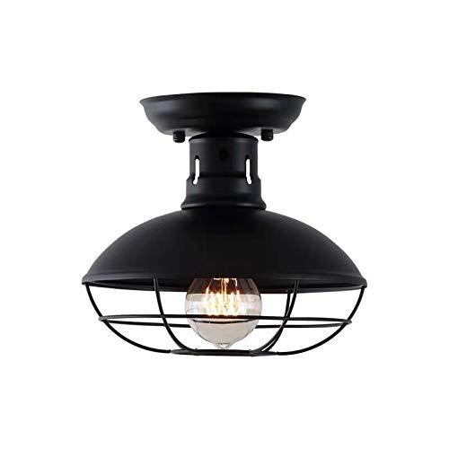 OUKANING Vintage Deckenleuchte Schwarz Metal Ceiling Light E27 Semi Flush Mount Ceiling Light Vintage 8,7 inch Deckenlampen Industrielampe Lampe