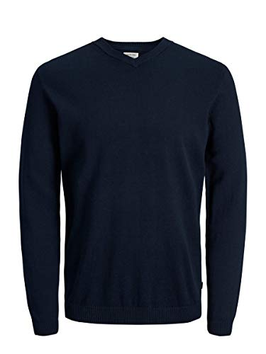 JACK & JONES Herren JJEBASIC Knit V-Neck NOOS Pullover, Blau (Navy Blazer Navy Blazer), Medium