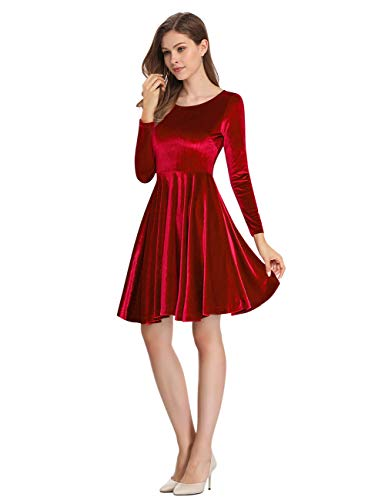 Leadingstar Women's Velvet Wrist Sleeve Length A-Line Mini Dress (Burgundy, XL)