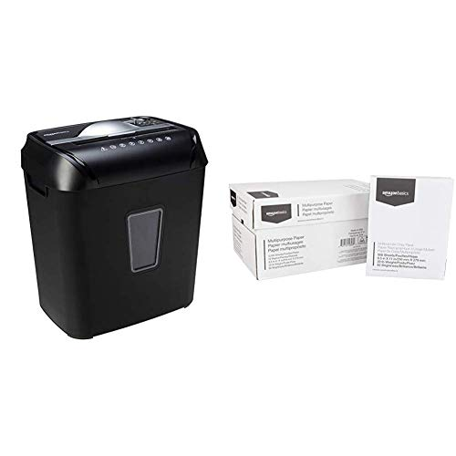 AmazonBasics 12-Sheet Cross-Cut Paper and Credit Card Home Office Shredder & 92 Bright Multipurpose Copy Paper - 8.5 x 11 Inches, 10 Ream Case (5,000 Sheets)