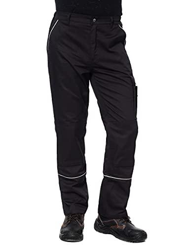 DINOZAVR Fortum Pantaloni da Lavoro Extra Resistenti - con Tasche Multifunzione e Ginocchiera e Strisce Riflettenti - Stile Cargo - Uomo - Nero/Grigio - EU48