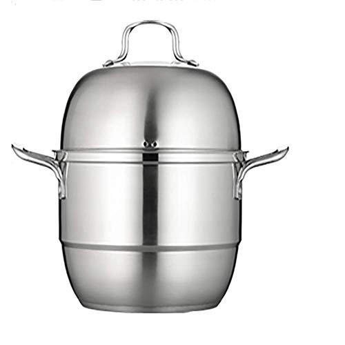 GJP Olla de Vapor de Acero Inoxidable de 2 Niveles Espesa sin Revestimiento Adecuada para el hogar Cocina Olla de Cocina Cocina de inducción Estufa de Gas vapores de Uso General con Tapa