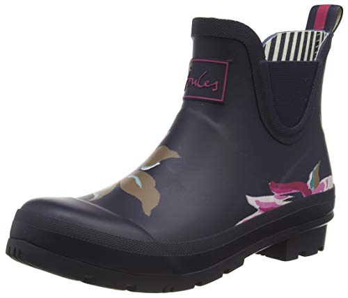 Joules Women's Wellibob Rain Boot, Navy All Over Floral, 8