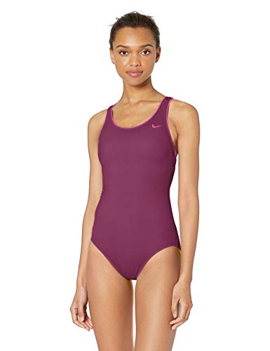 Nike Swim Women's Solid Powerback One Piece Swimsuit, Villain Red, Medium