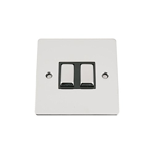 Light Switch 2 Gang 2 Way 10A -Polished Chrome -Flat -Black Insert -Metal Rocker Switch
