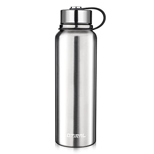 Oziral Botellas Termicas, Botella de Agua de Acero Inoxidable 1100ML Aislada al vacío, sin BPA Botella Acero Inoxidable 1l Apto para niños, bicicletas, camping fitness y deportes al aire libre.Plata