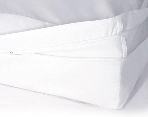 Softsan Protect Plus Matratzenbezug für Topper milbendicht 140x200x8 cm, Höhe 8 cm, Encasing, Milbenschutz für Hausstauballergiker milbenkotdicht